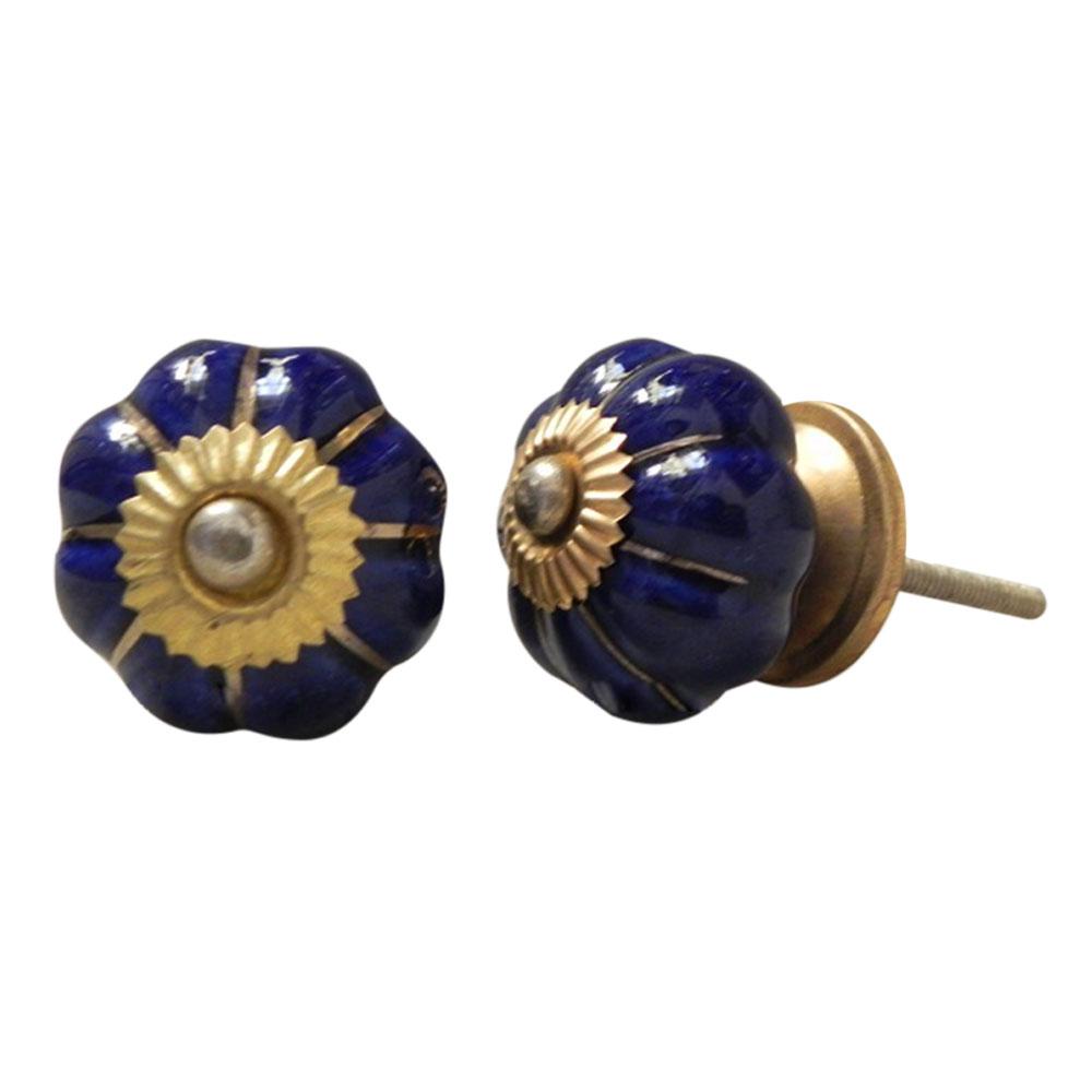 Blue Golden Medium Knob