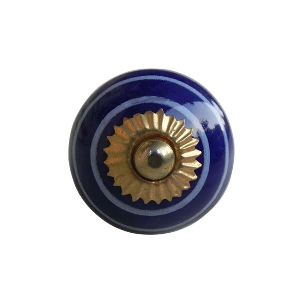 Navy Blue White Knob