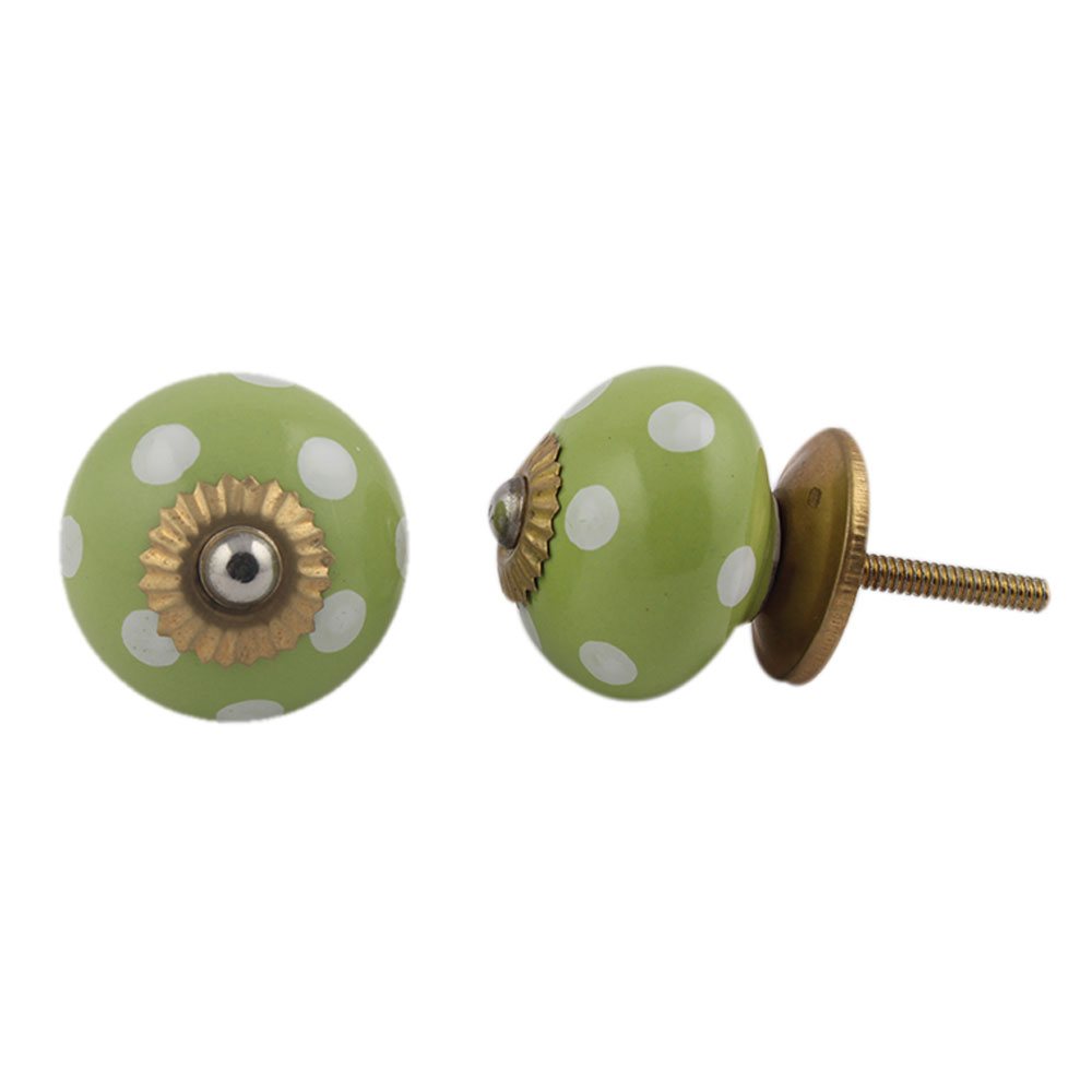 Lime Green White Polka Dotted Cabinet Knob