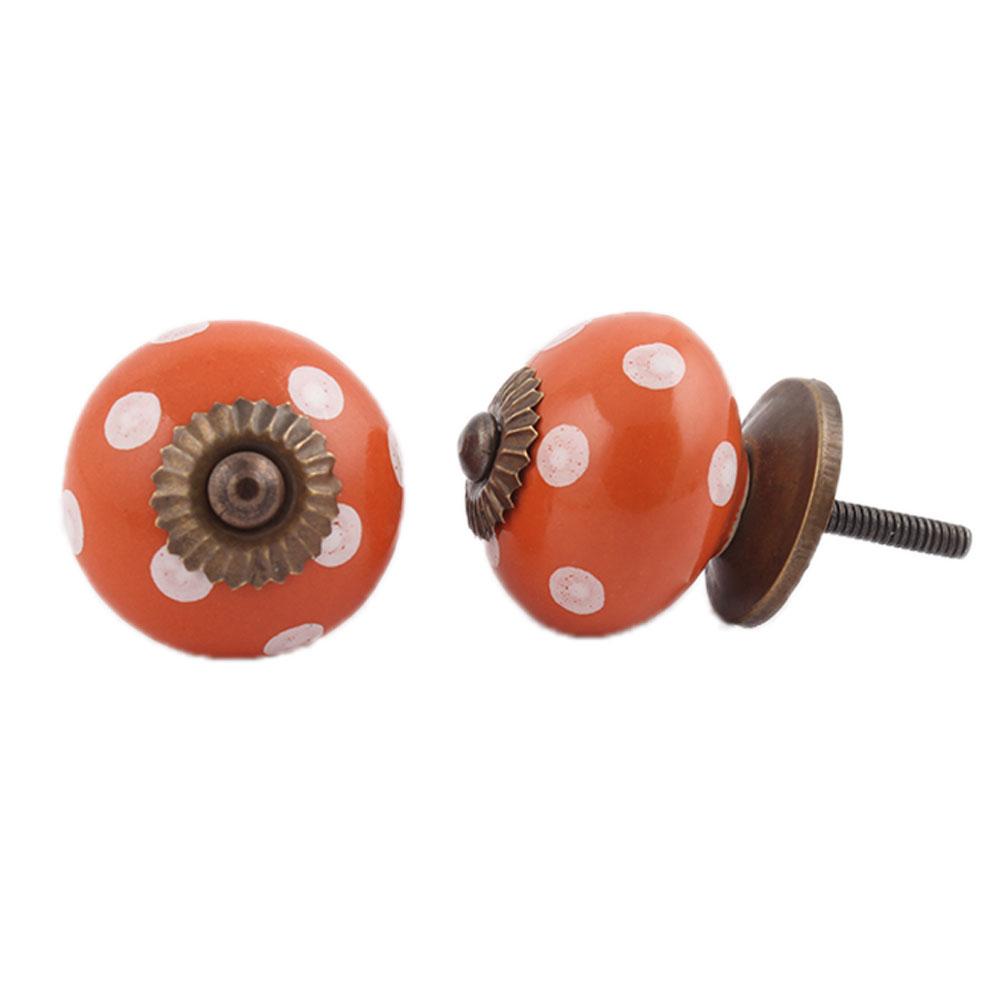 Orange White Polka Dotted Ceramic Knob