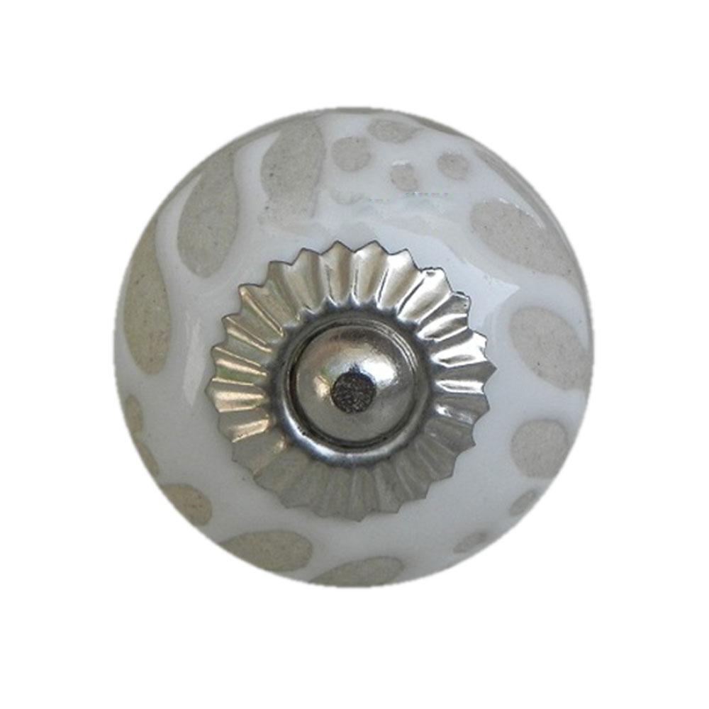 White Etched Ceramic Knob-28