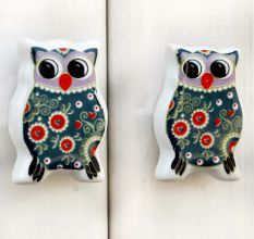 Grey Owl Flat Ceramic Knob