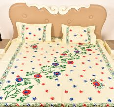 Cream Handmade Double Bed Sheet Linen with Multicolor Floral Design Beautiful Decorative Stylish
