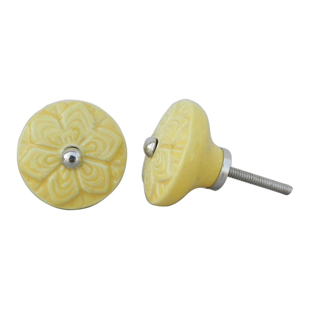 Yellow Wheel Flower Knob