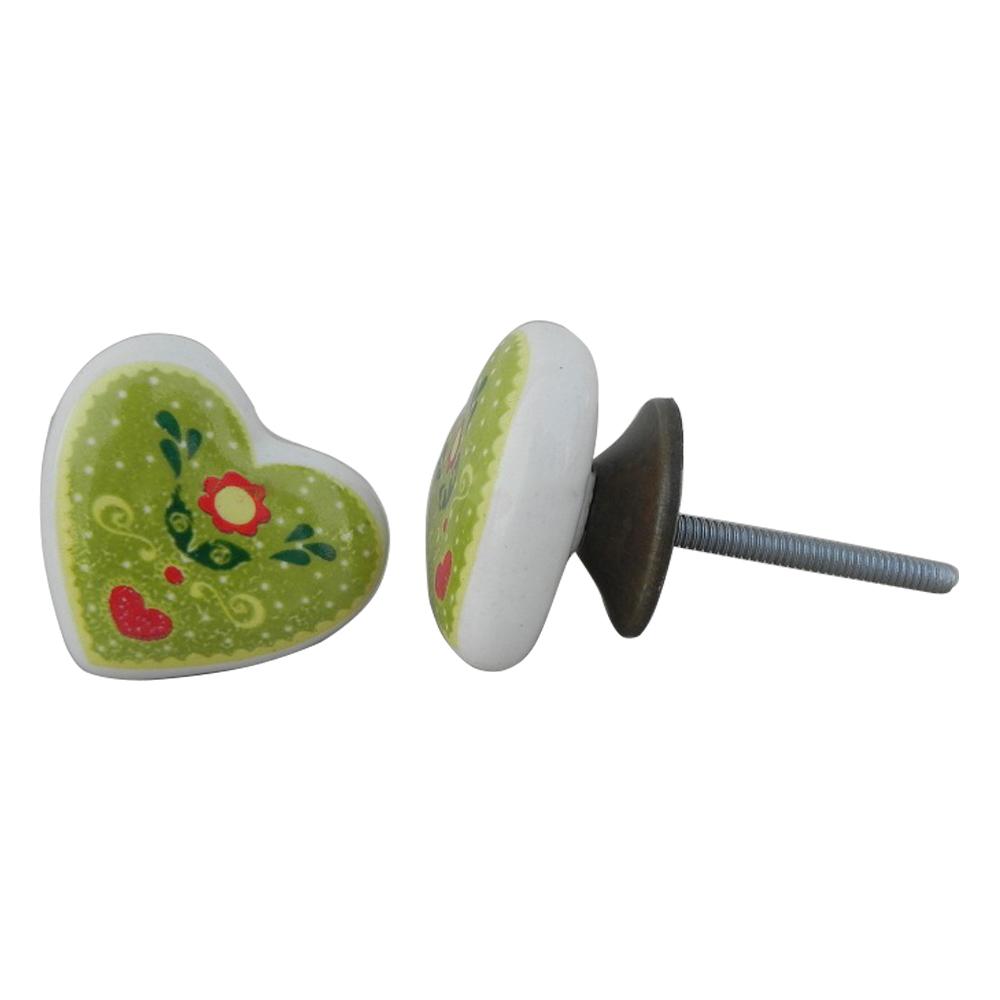 Green Heart Ceramic Knob