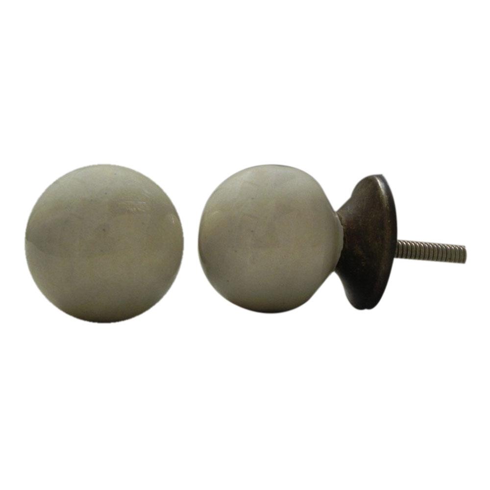 Cream Round Ceramic Knob