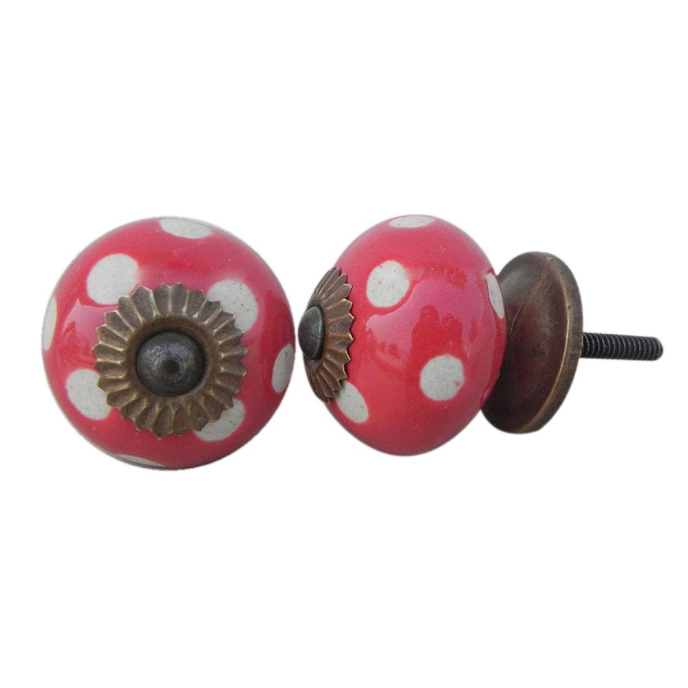 Red Etched Ceramic Knob 14