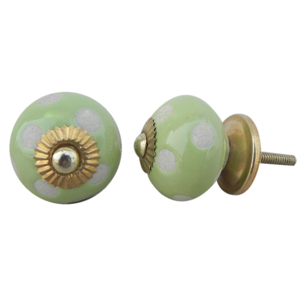 Light Green Etched Ceramic Knob 15