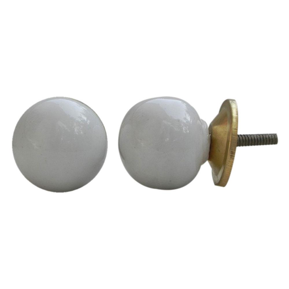 White Round Ceramic Knob