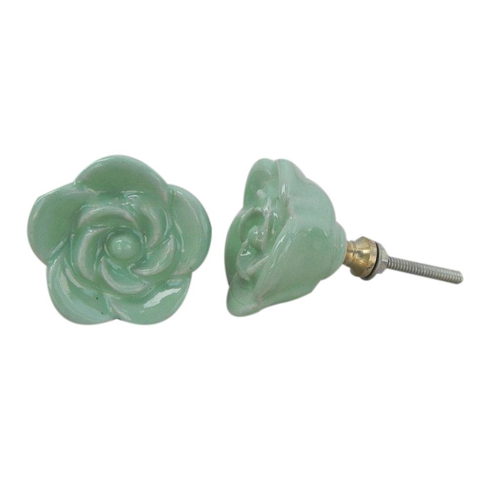 Pea Green Rose Knob