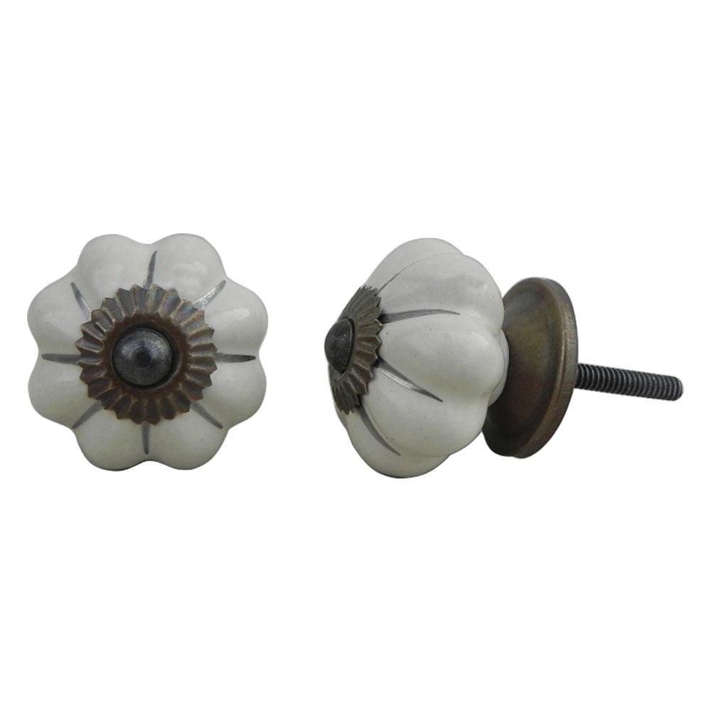 Cream Silver Medium Knob