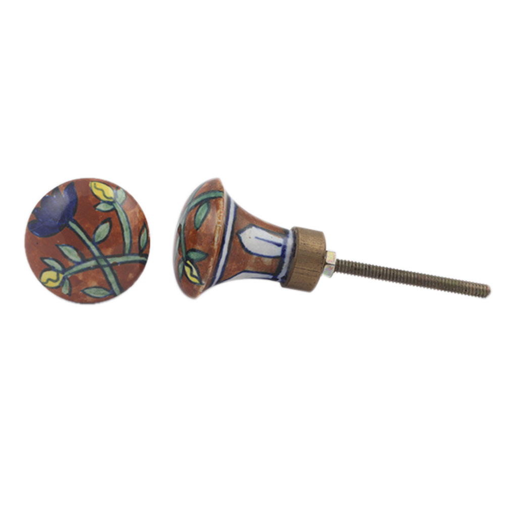 Long Brown Blue Floral Pull Ceramic Knob