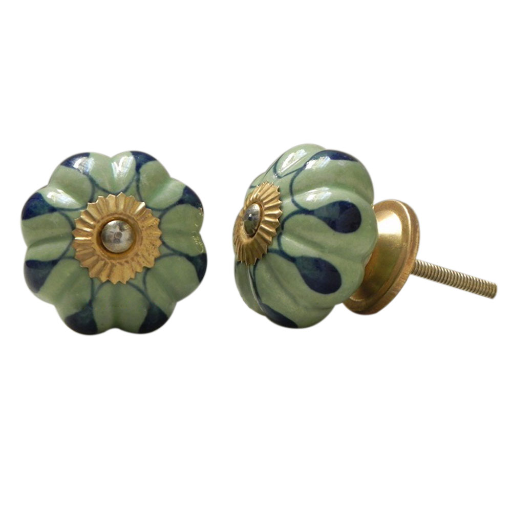 Green Drop Ceramic Knob