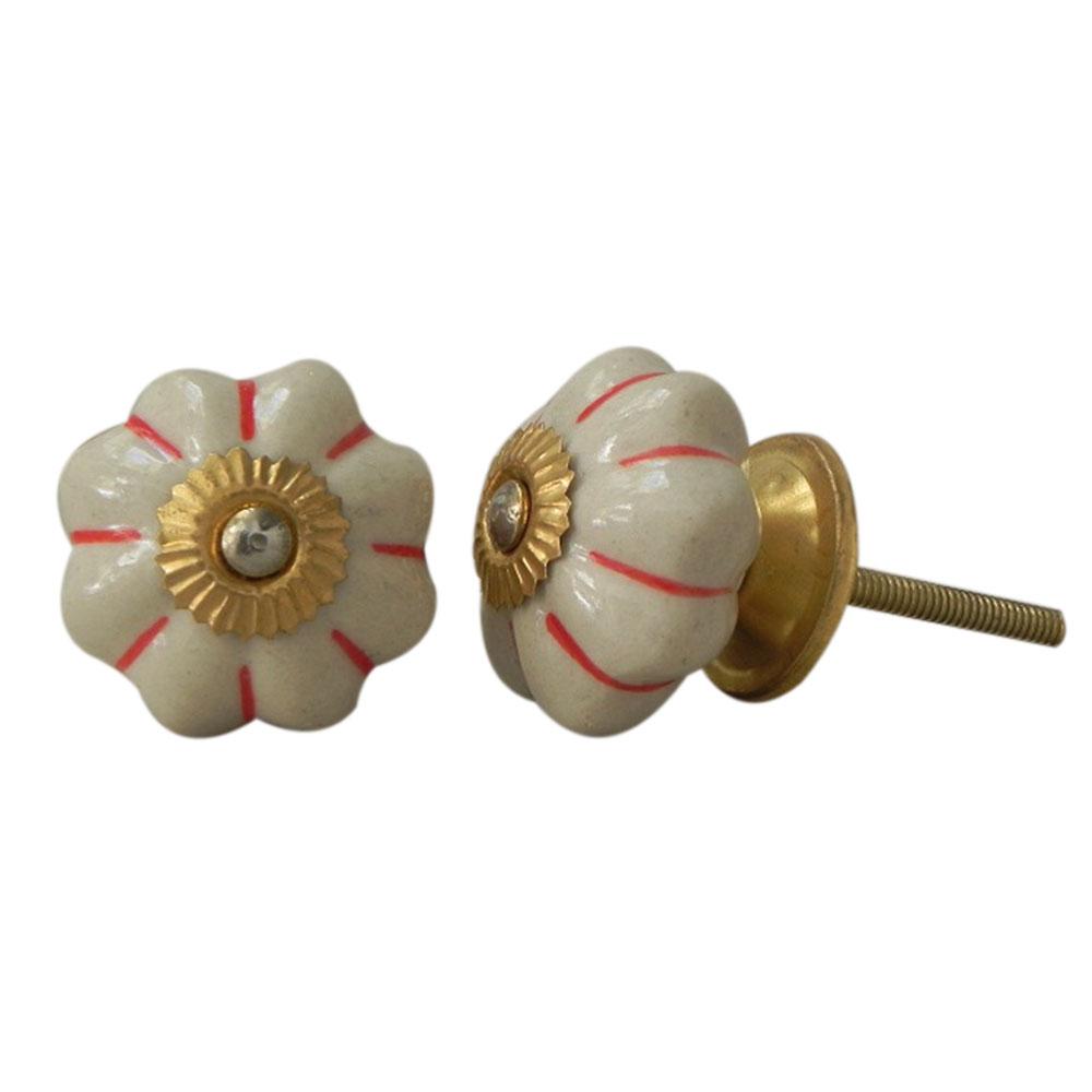 Cream Red Ceramic Knob