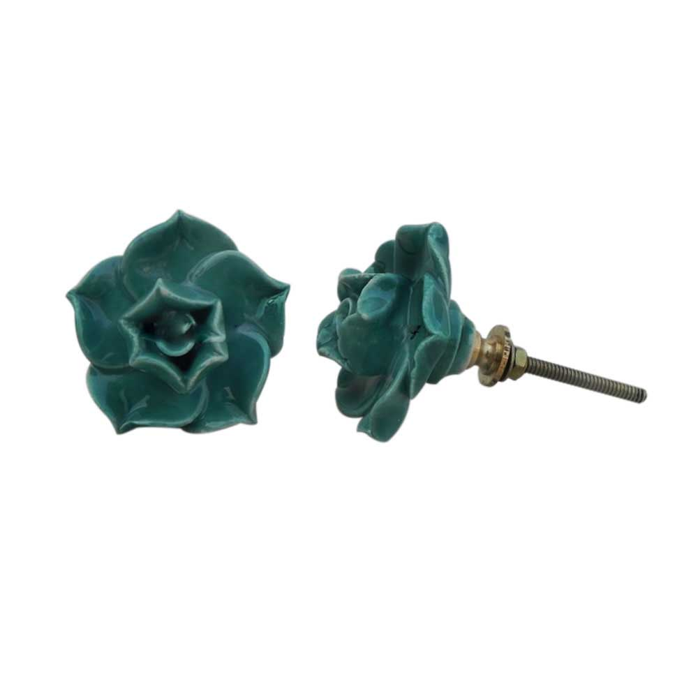 Sea Green Rose Knob