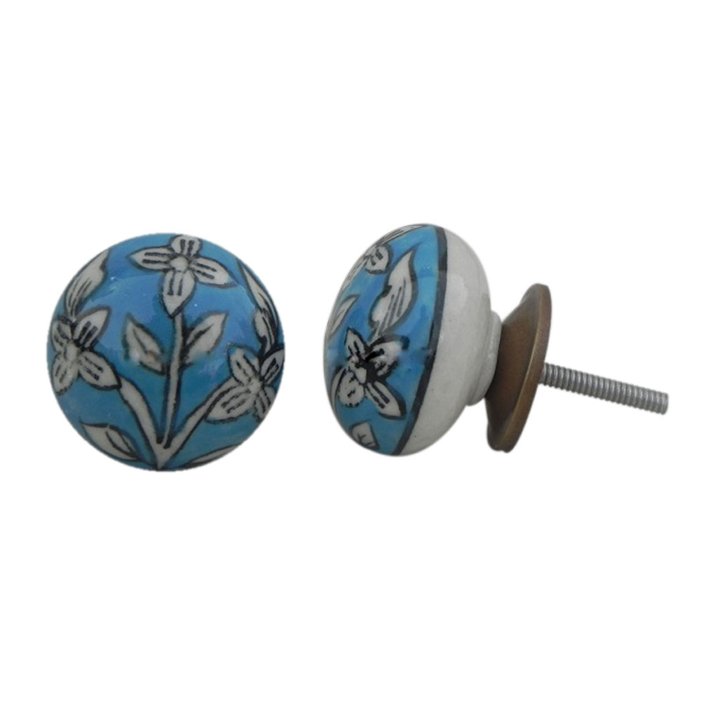 Turquoise Floral Knob