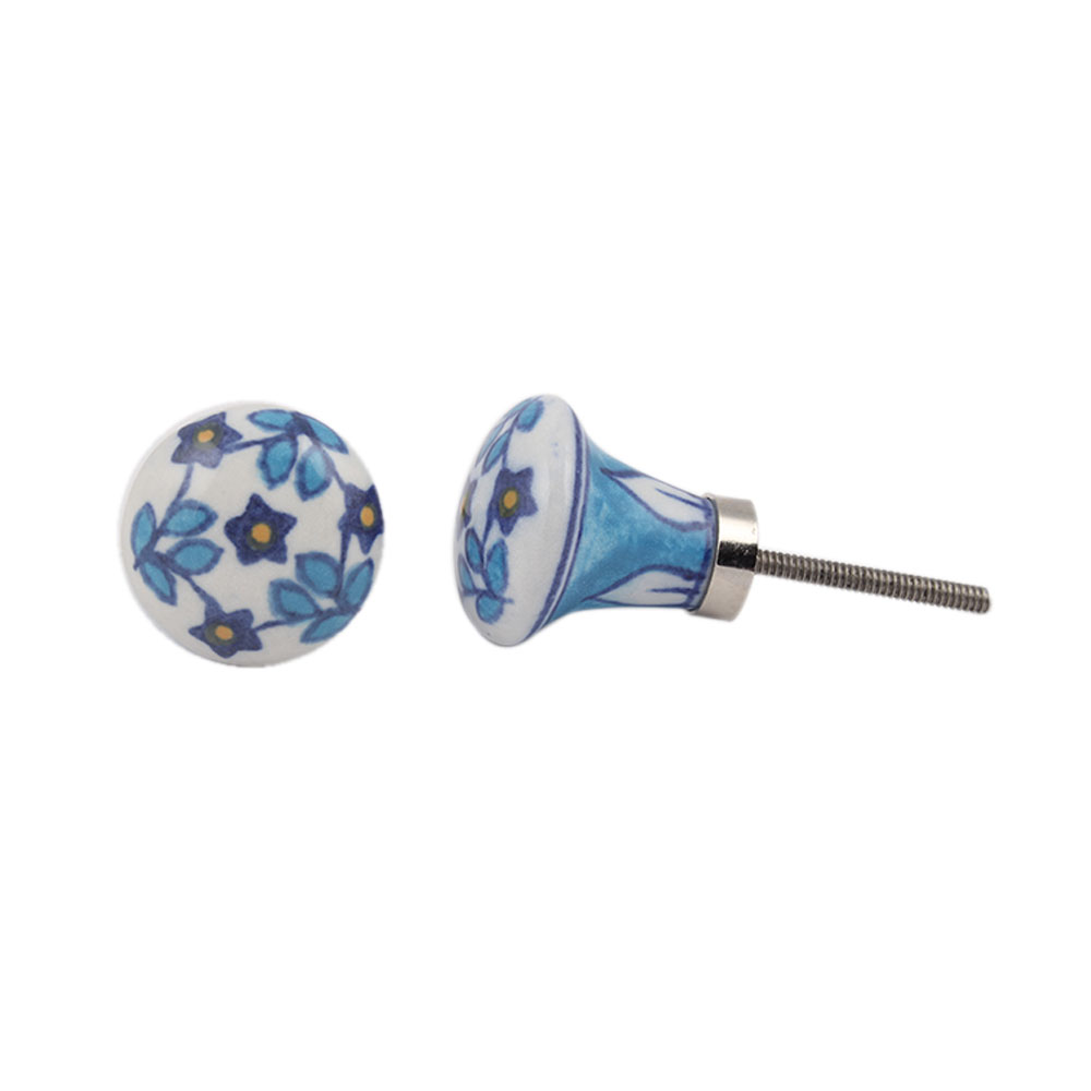 Blue Lily Ceramic Bulb Drawer Knob