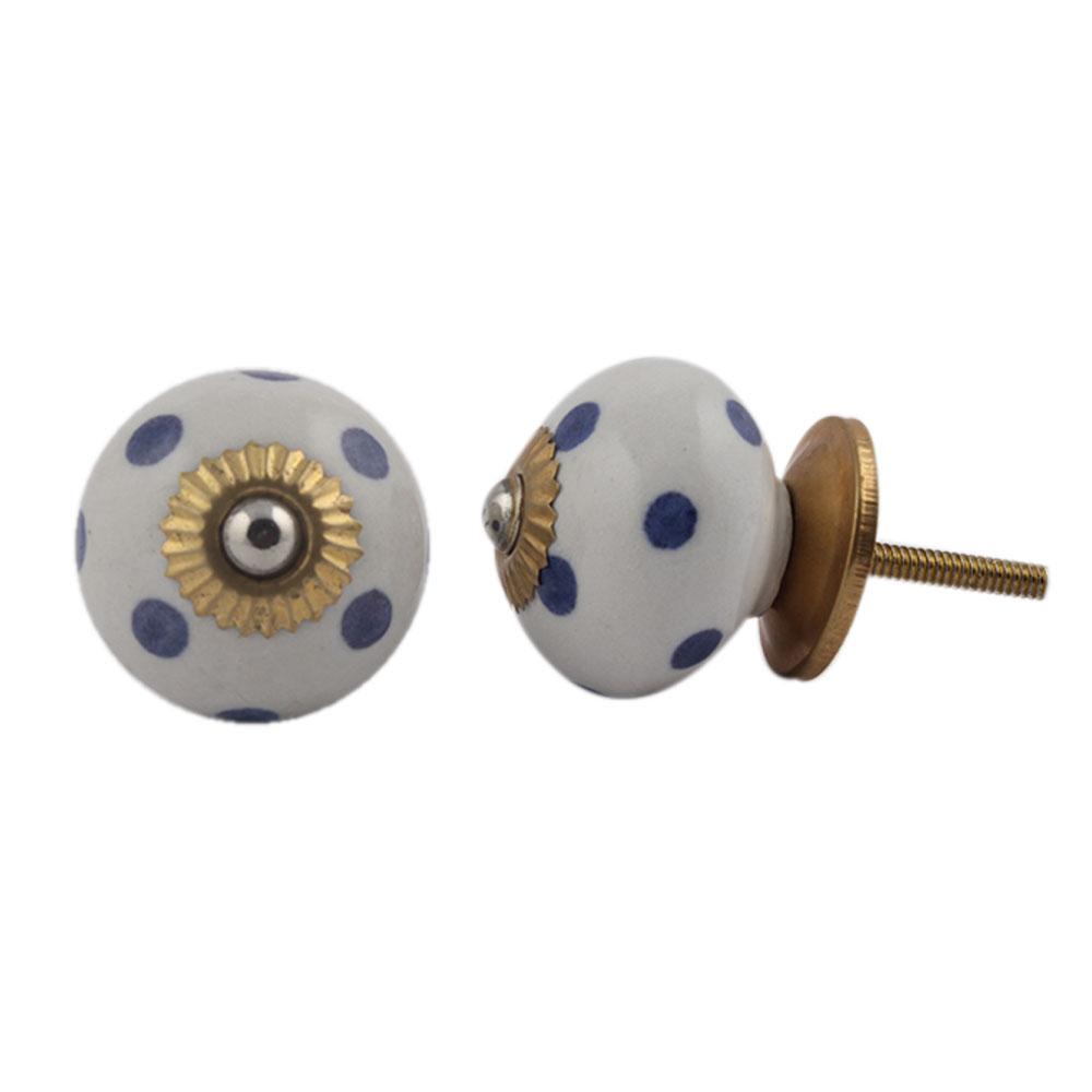 White Royal Blue Polka Dot Ceramic Drawer Knob