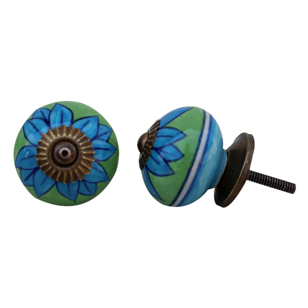 Turquoise Flower Drawer Knob