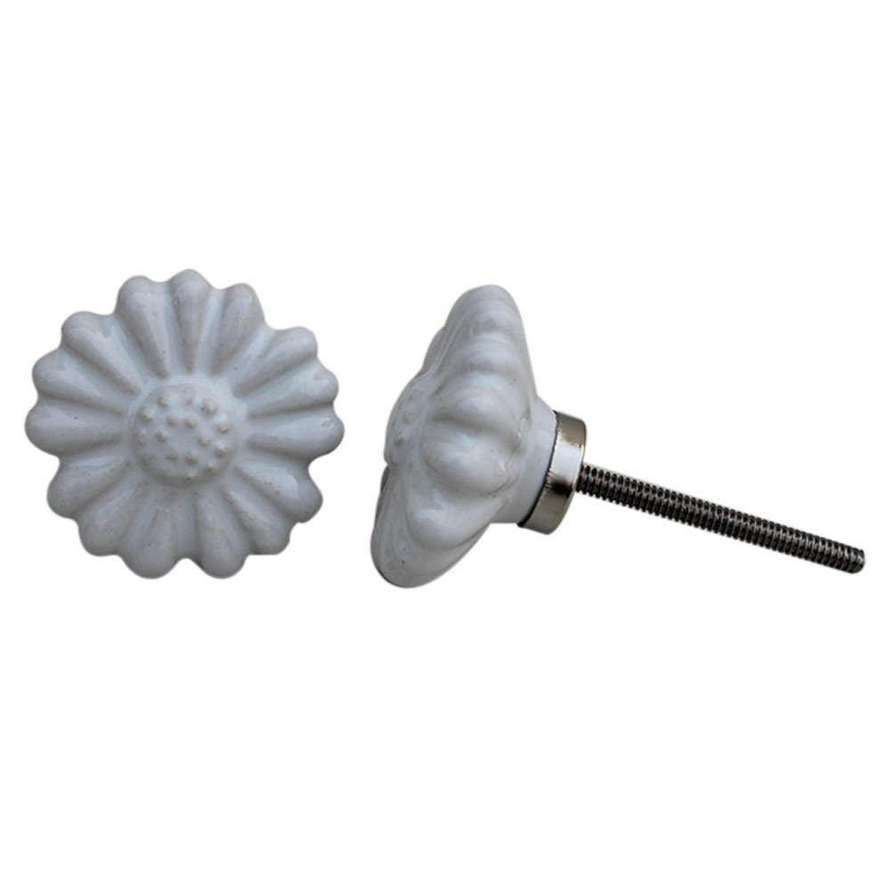 White Daisy Flower  Knob