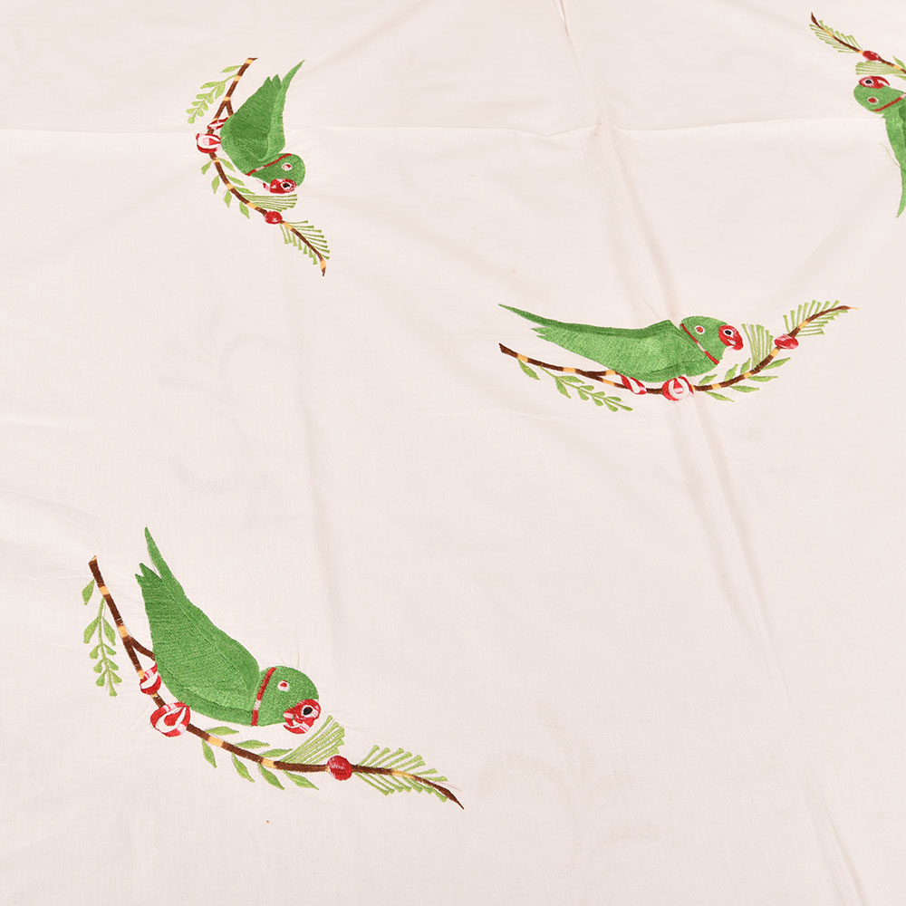 White Handmade Double Bed Sheet Linen with Parrot Design Beautiful Decorative Stylish