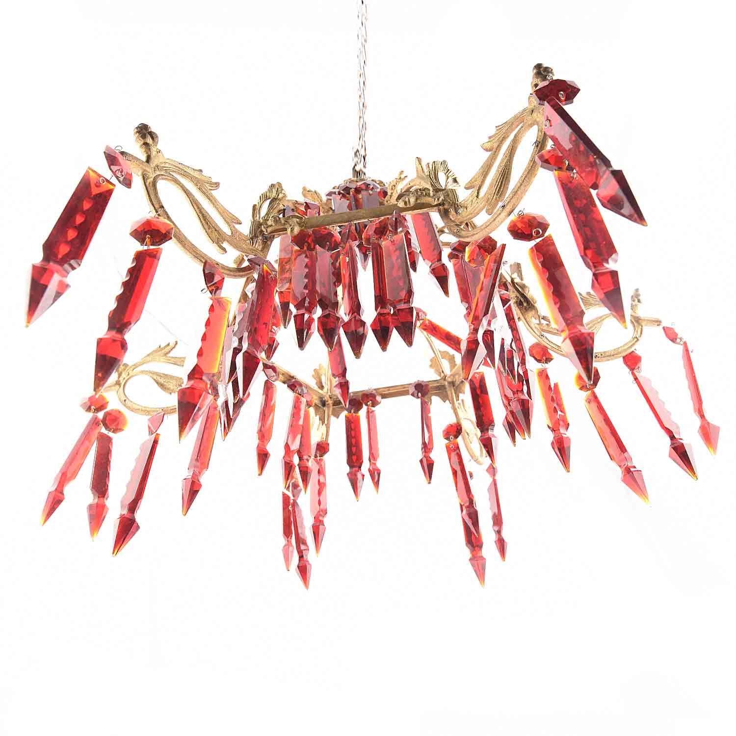 Red Glass Chandelier Lighting.