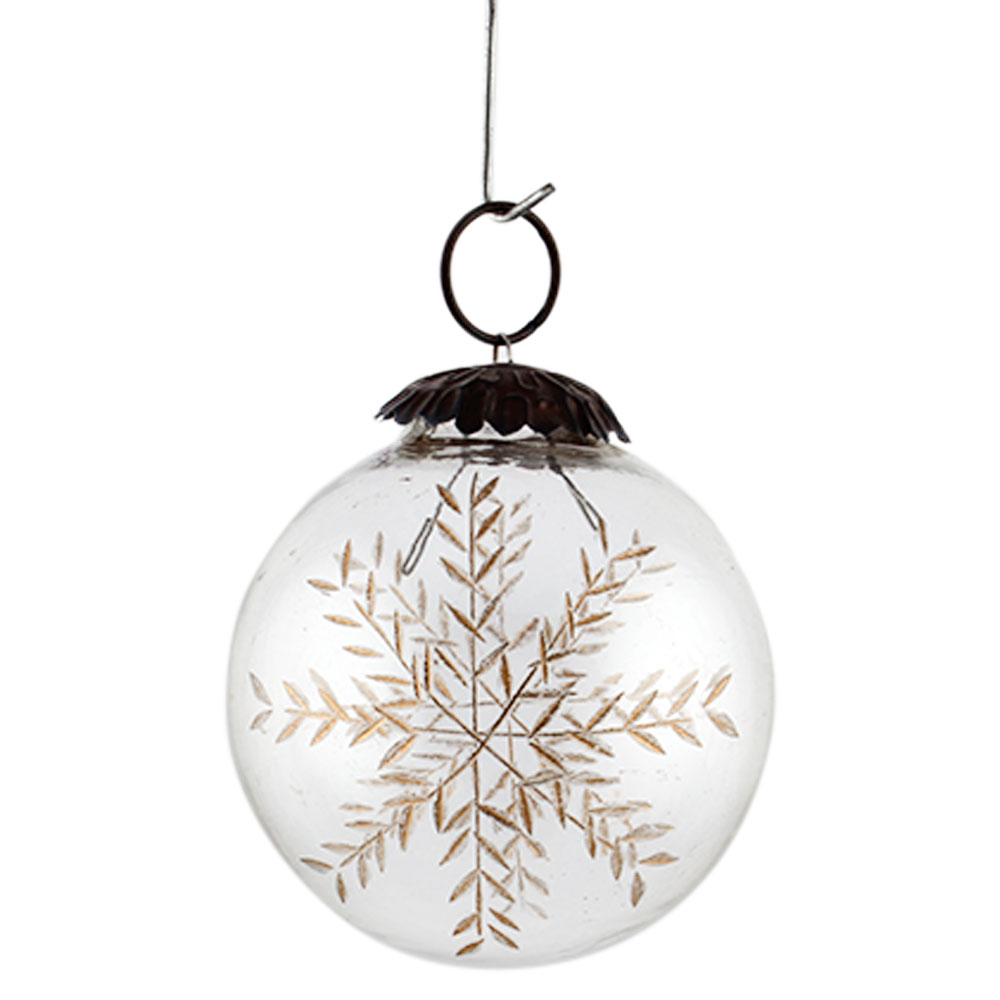 Clear Golden Leaf Cut Christmas Hanging