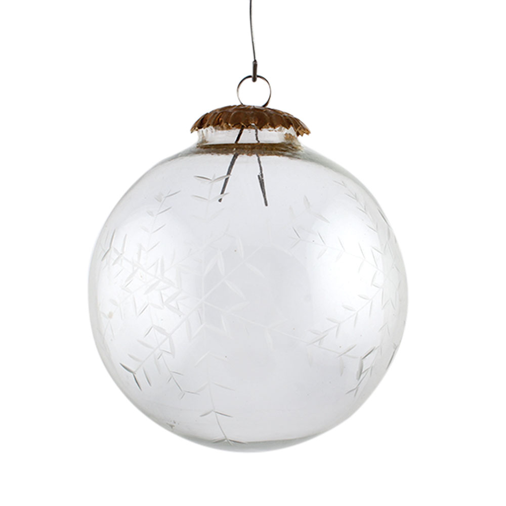 Clear Leaf Cut Round Christmas Hanging