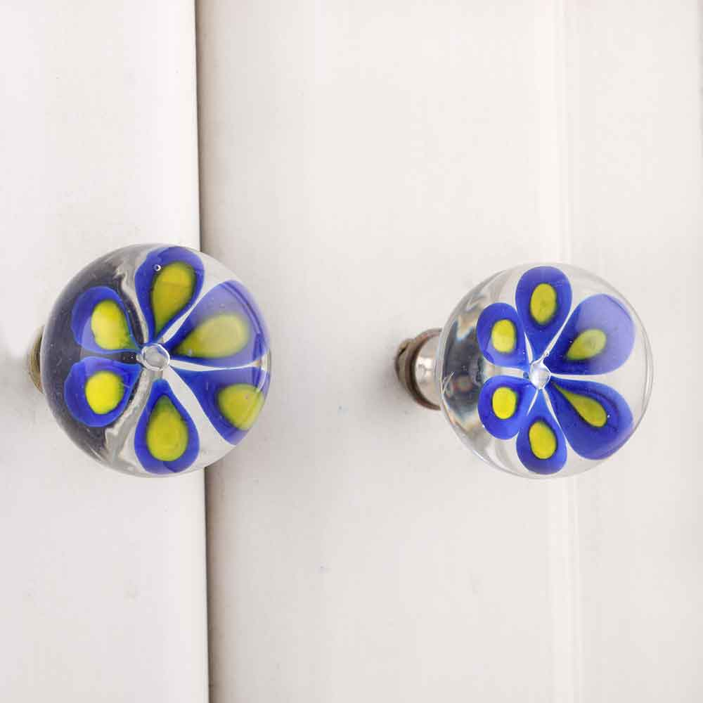 Myosotis Blue Leaf Glass Knob