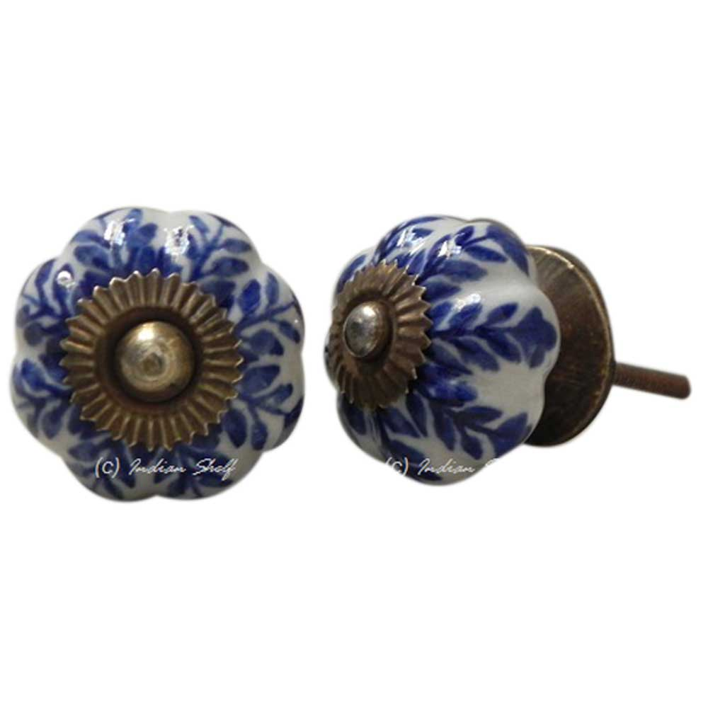 Blue Leaf Medium Knob
