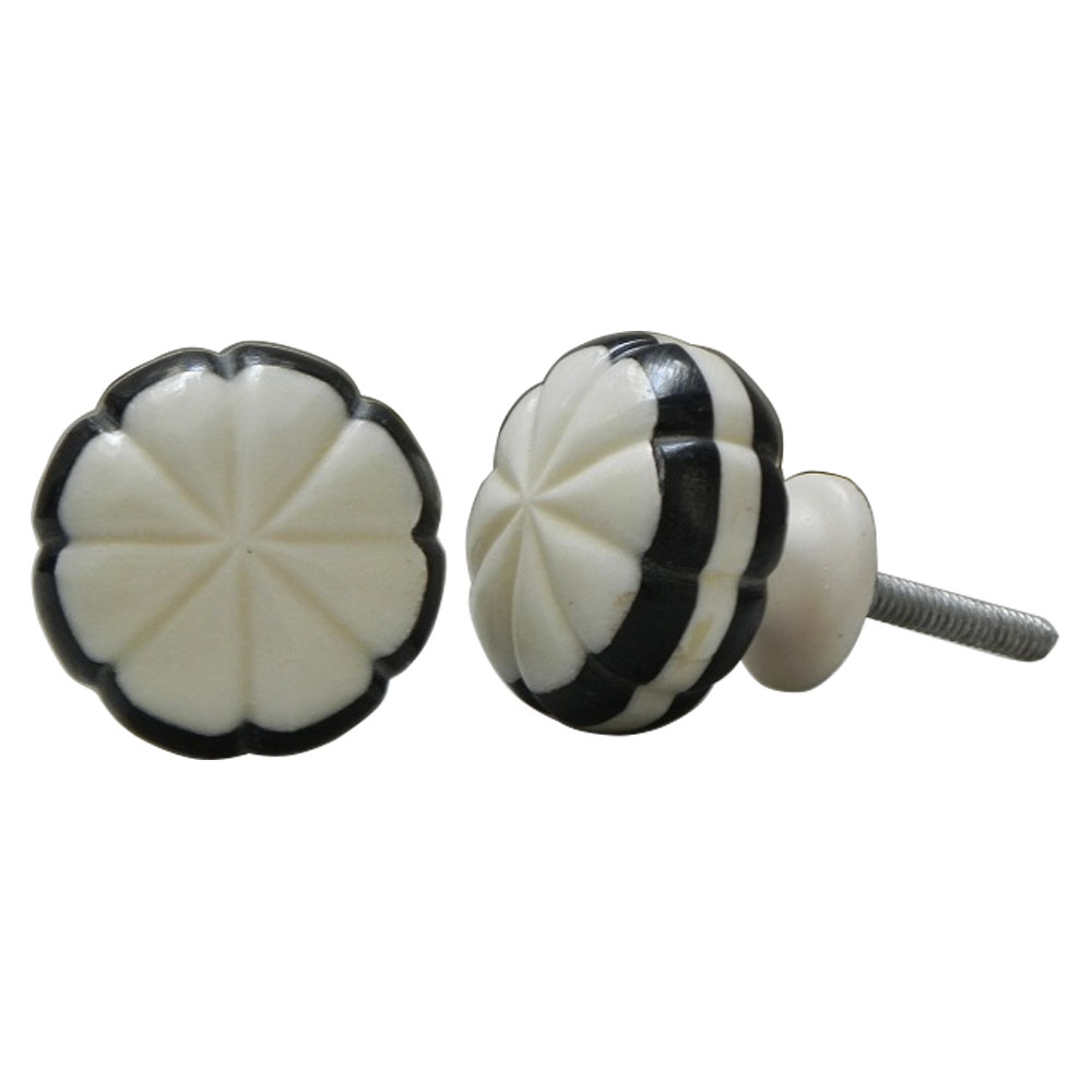White With Black Knob