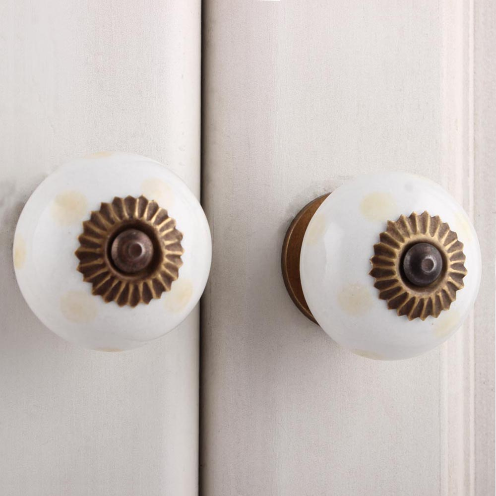 Cream Dotted Handmade Ceramic Knob