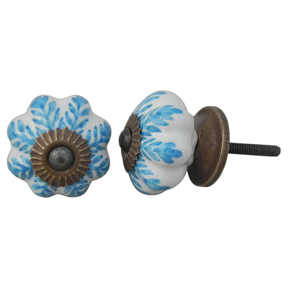 Turquoise Leaf Medium Knob