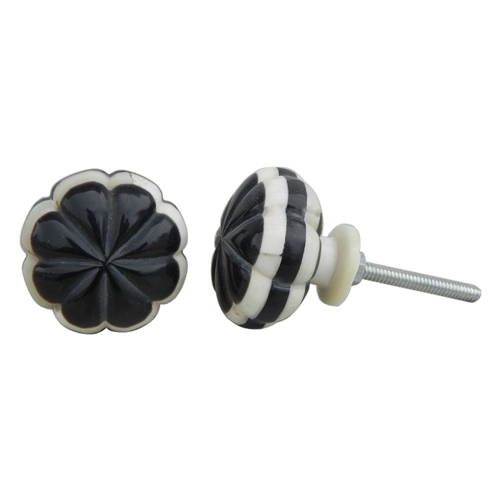Black With White Bone Knobs