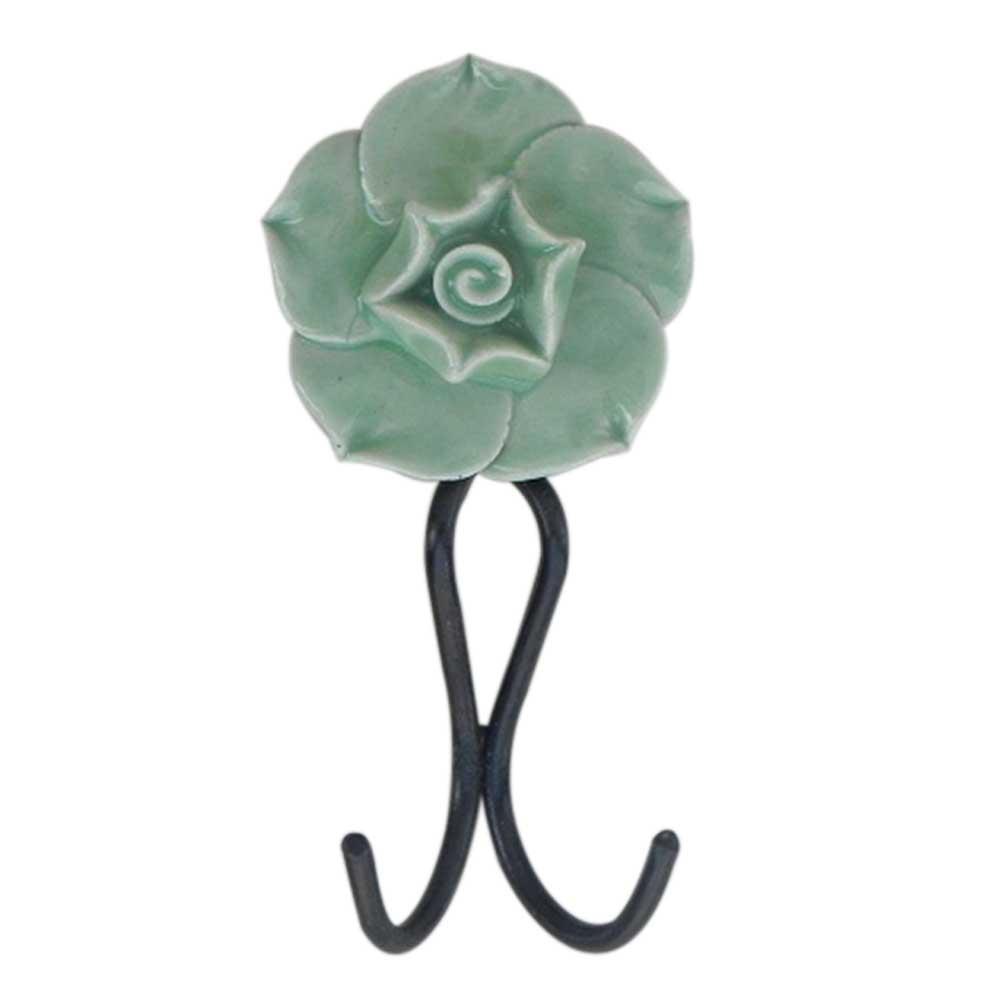 Pea Green Rose Hooks