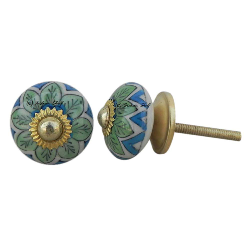 Green Floral Small Knob