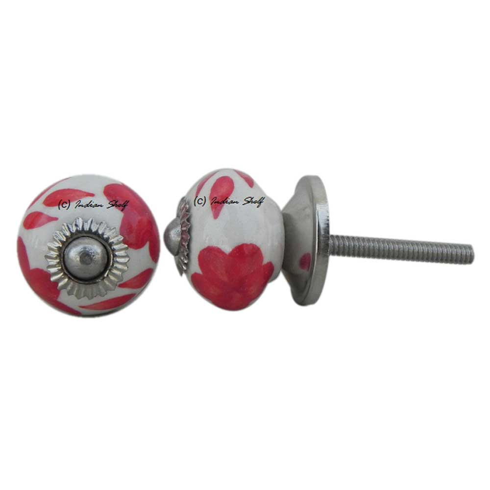 Red Floral Small Knob