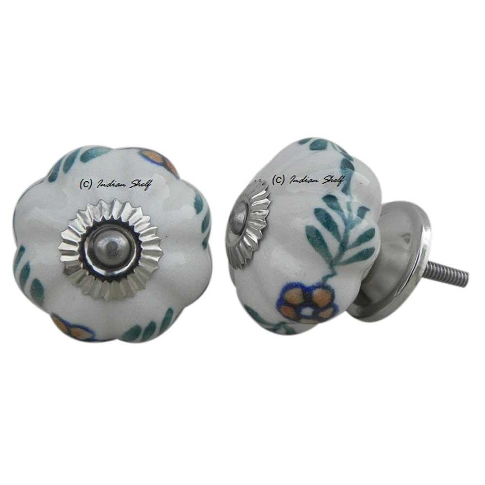 White Floral Melon Knob
