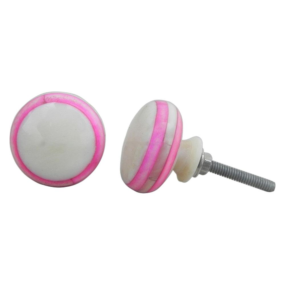 Pink Bone Flat Knob