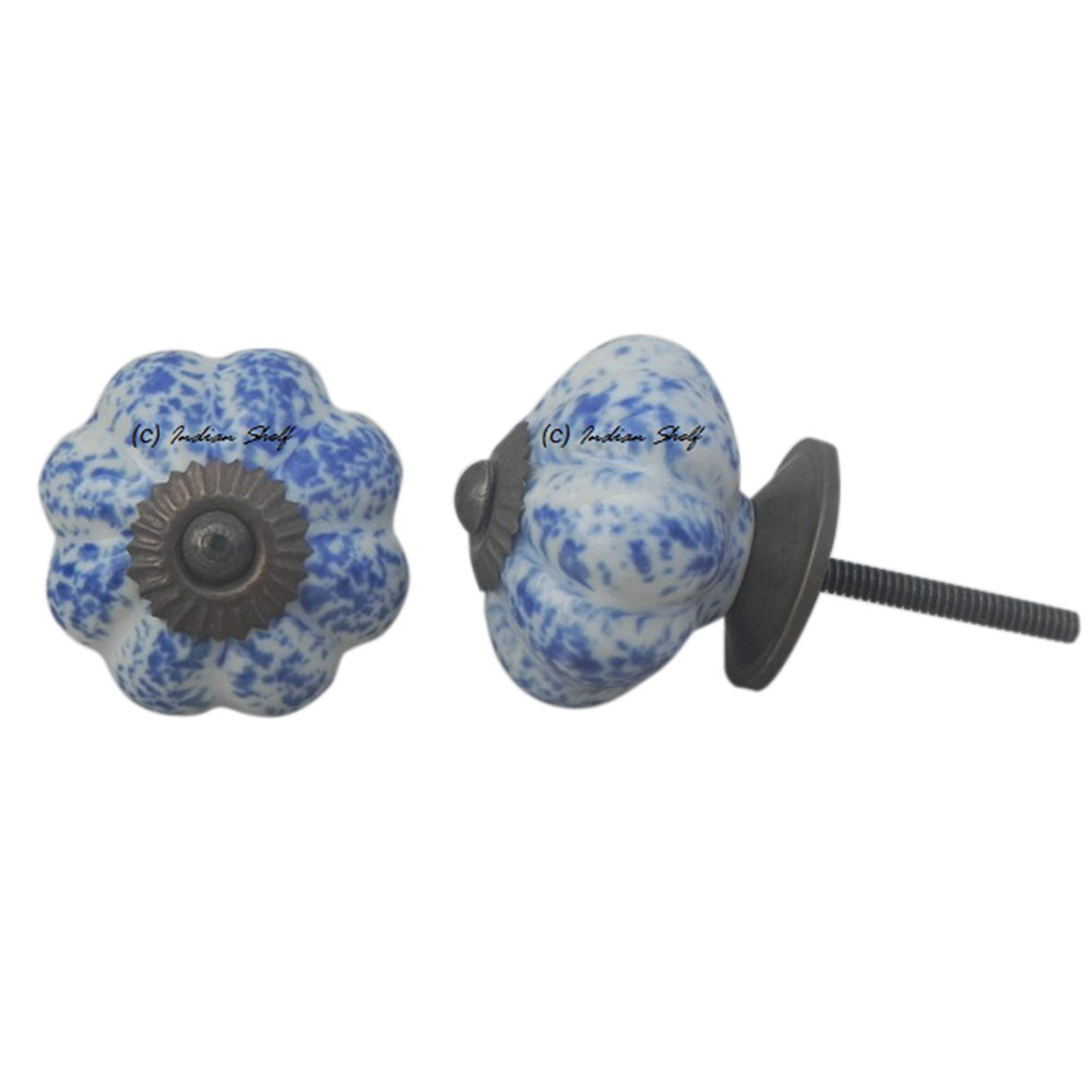 Blue Calico Melon Knob