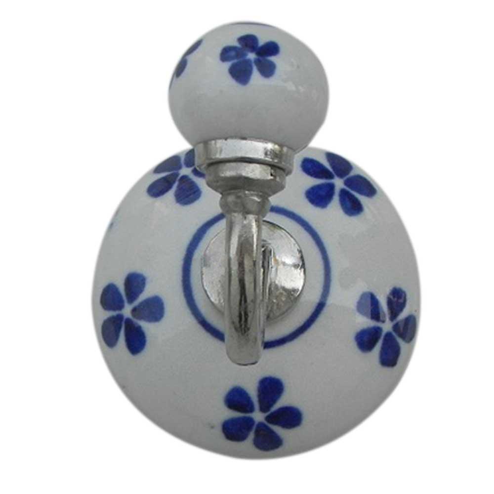 Blue Floral Ceramic Hooks