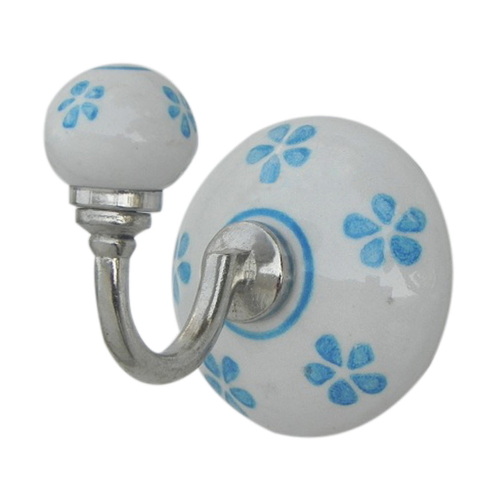 Turquoise Floral Ceramic Hooks