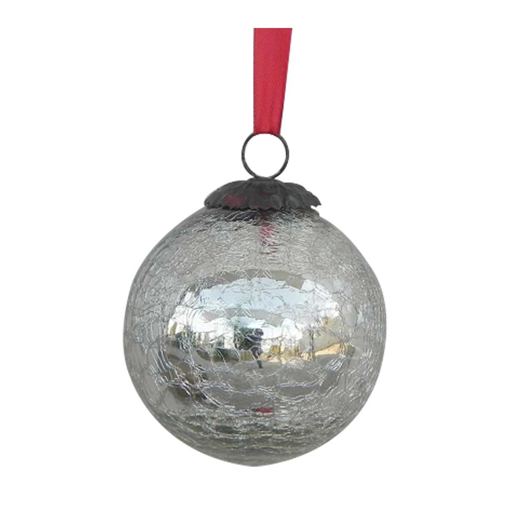 Silver Crackle  Medium Hanging