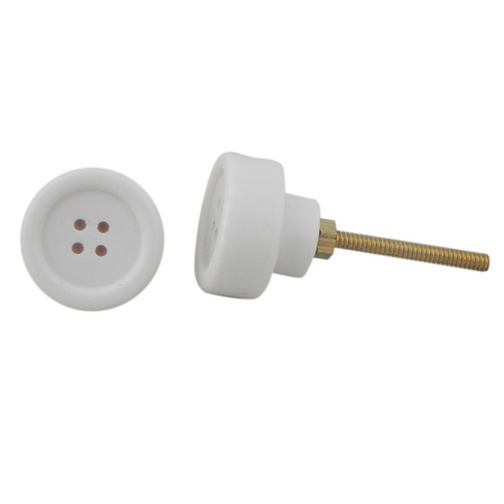 White Button Knob