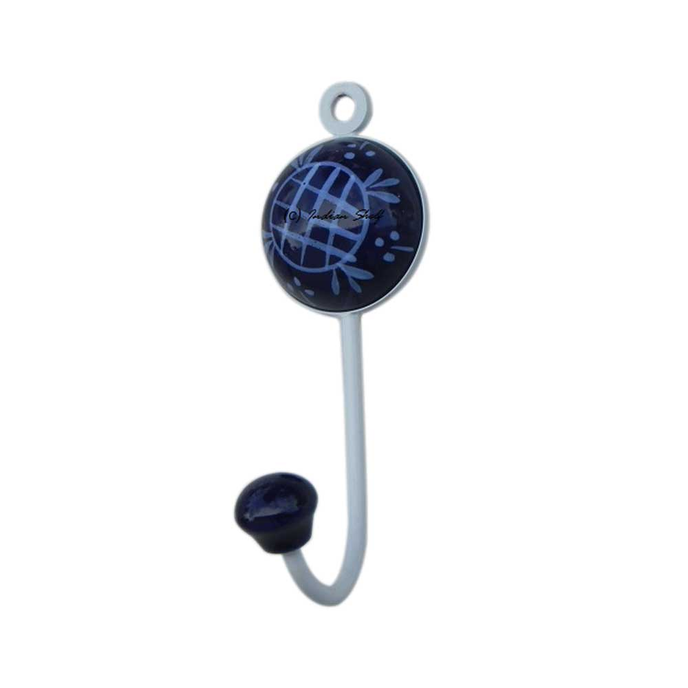 Navy Blue Check Wall Hooks