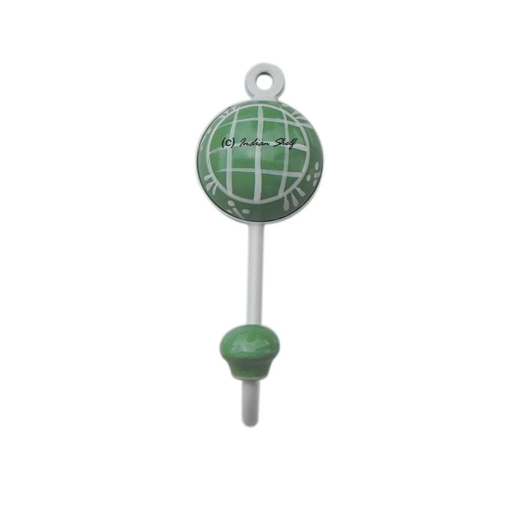 Pea Green Check Wall Hooks