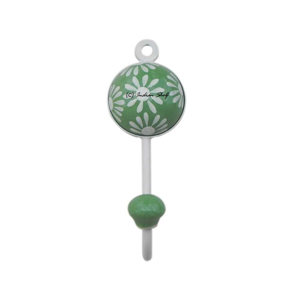 Pea Green Floral Wall Hooks