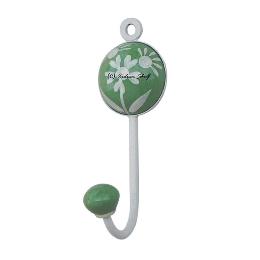 Green Flower Decorative Wall Hooks