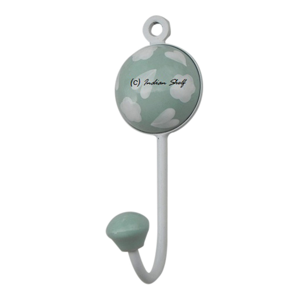 Sage Green Heart Decorative Wall Hooks