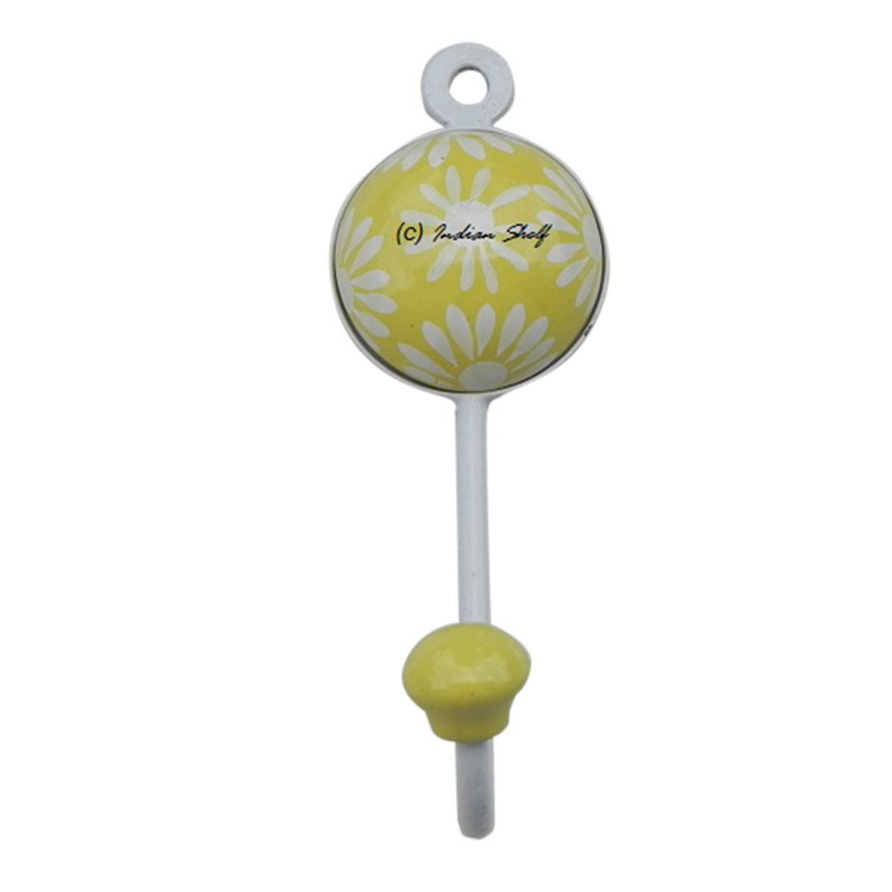 Yellow Wall Floral Hooks